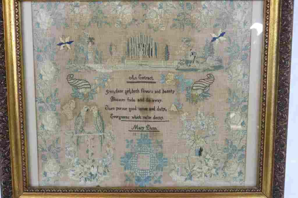 19TH C. FRAMED & GLAZED NEEDLEWORK SAMPLER,