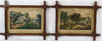 TWO 19TH C CURRIER  IVES LITHOGRAPHS AMERICAN