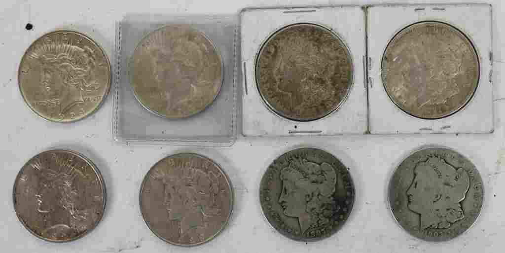 LOT OF 8 US SILVER DOLLARS TO INCLUDE 4 MORGAN,