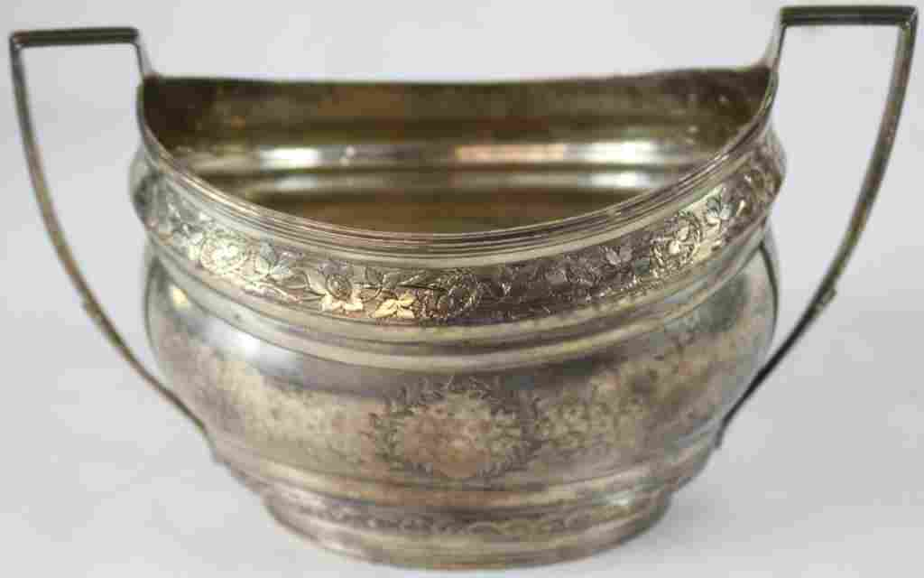 EARLY COIN SILVER SUGAR BOWL WITH ETCHED DESIGN