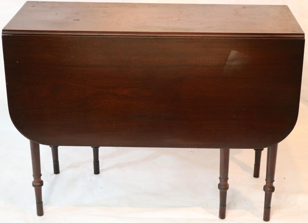 19TH C. MAHOGANY DROP LEAF TABLE WITH SWING