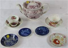 LOT OF 9 PCS. EARLY TRANSFERWARE TO INCLUDE 2