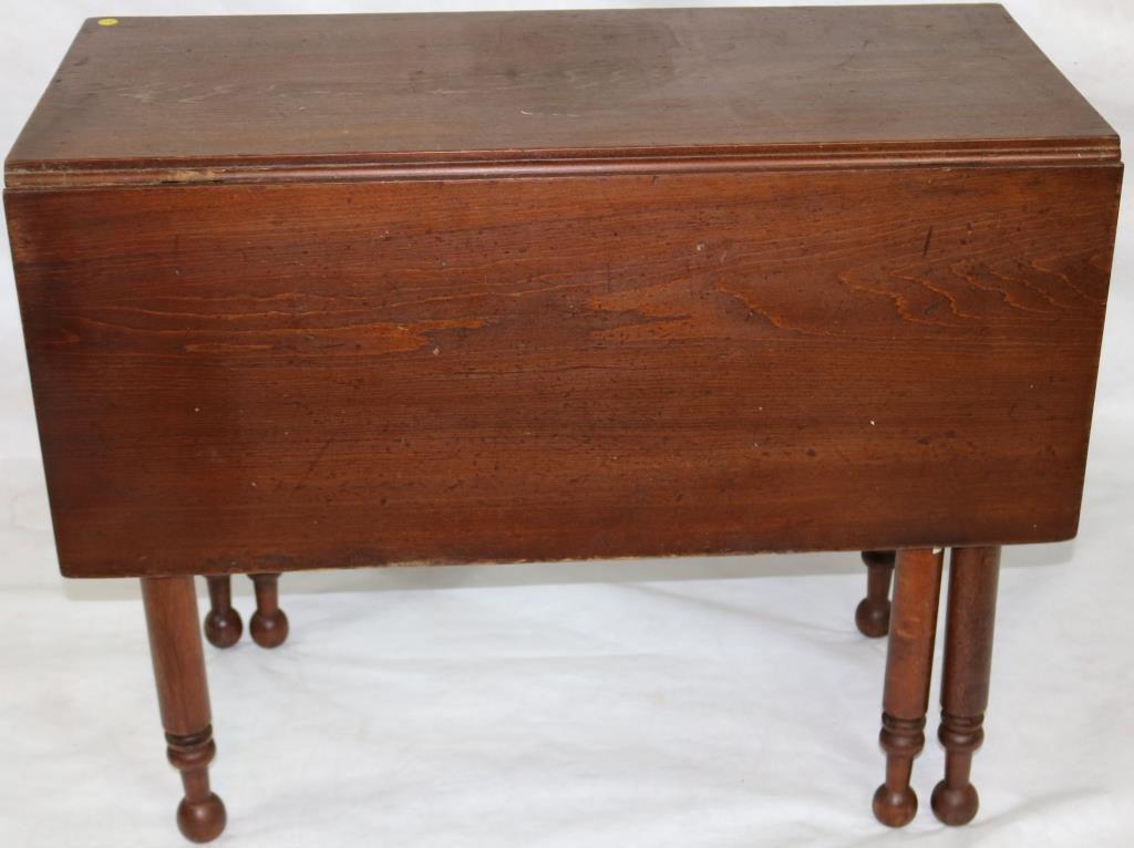 19TH C. WALNUT SWING LEG DROP LEAF TABLE, TURNED