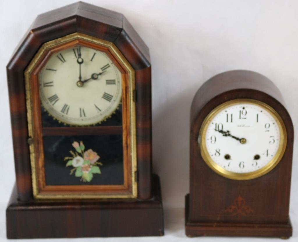 19TH C. ROSEWOOD SHELF CLOCK BY NEW HAVEN,