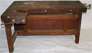 EXCEPTIONAL EARLY 20TH C. OAK WORK BENCH WITH