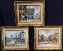 LOT OF 3 CONTEMPORARY OIL ON CANVAS, FRENCH