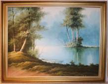 LARGE CONTEMPORARY OIL ON CANVAS RIVER WITH