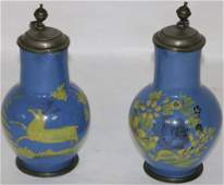 TWO EARLY 19TH C DECORATED CERAMIC HANDLED