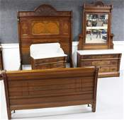 VICTORIAN WALNUT 3 PC MARBLE TOP BEDROOM SET ALL
