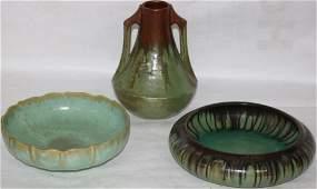 LOT OF 3 FULPER GREEN GLAZED ART, POTTERY ITEMS