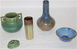 5 FULPER POTTERY ITEMS TO INCLUDE GREEN SCARAB
