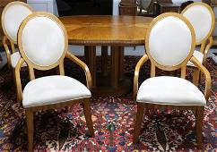 QUALITY 5 PC. DINING SET WITH INLAID ROUND TABLE
