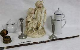 8 PC LOT TO INCLUDE LARGE PORCELAIN FIGURAL