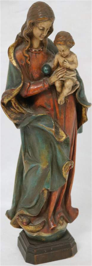 20TH C. CARVED AND PAINTED WOOD FIGURE MADONNA &