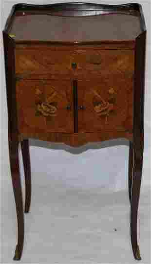 LATE 20TH C. FLORAL INLAID STAND WITH 1 DRAWER 2