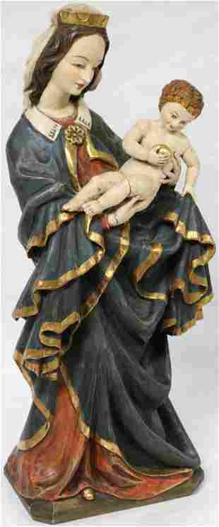 MID 20TH C. LG CARVED & PAINTED WOODEN MADONNA
