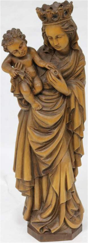 20TH C. GERMAN CARVED WOOD MADONNA WITH CHILD 23""