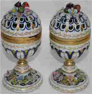 PAIR 20TH C. EGG SHAPED POTPOURRI HINGED JARS