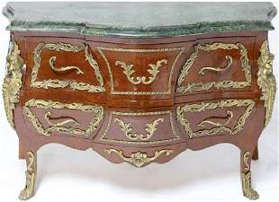 20TH C FRENCH, BOMBAY GREEN MARBLE TOP CHEST WITH