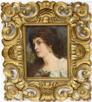 LATE 19TH C. OIL ON WOOD PANEL DEPICTING YOUR