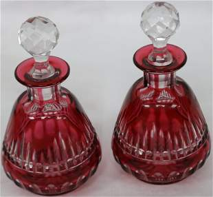 PAIR OF RUBY CUT OVERLAY STOPPERED PERFUME