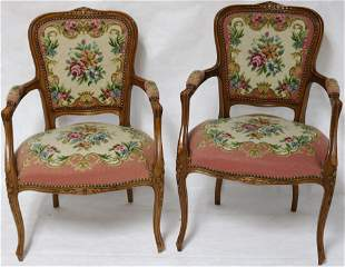 PAIR FRENCH, STYLE OPEN ARM CHAIRS W, NEEDLE