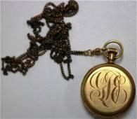 "18KT GOLD HUNTERS CASE, 1 1/2"" DIA. ENAMEL DIAL,"