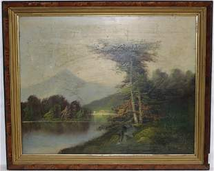 19TH C. OIL ON CANVAS HUDSON RIVER SCENE, NEEDS