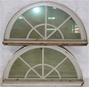 PAIR OF HALF ROUND WINDOWS WITH CASEMENT,
