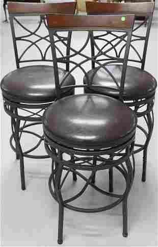 SET OF 3 CONTEMPORARY IRON & WOOD SWIVEL STOOLS,