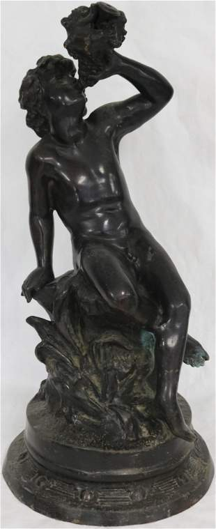 BRONZE GARDEN FIGURE OF YOUNG BOY WITH CONCH