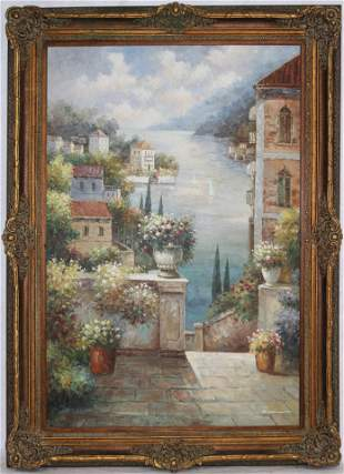 LARGE ORNATELY FRAMED OIL ON CANVAS, POSSIBLY