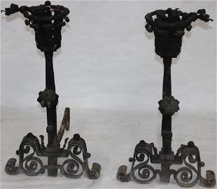 PAIR OF ORNATE LATE 19TH C. WROUGHT IRON