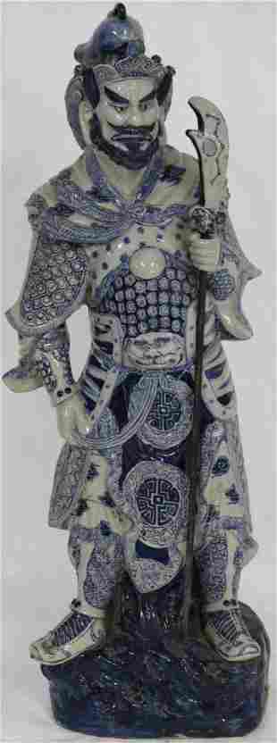 TALL ORIENTAL PORCELAIN FIGURE OF WARRIOR, BLUE &