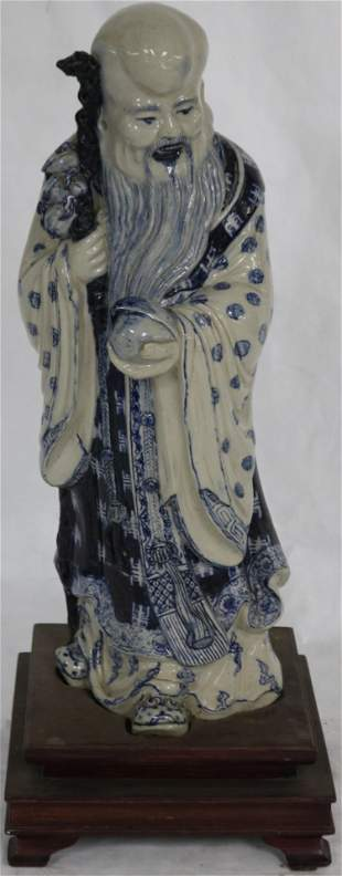 BLUE & WHITE PORCELAIN ORIENTAL FIGURE OF