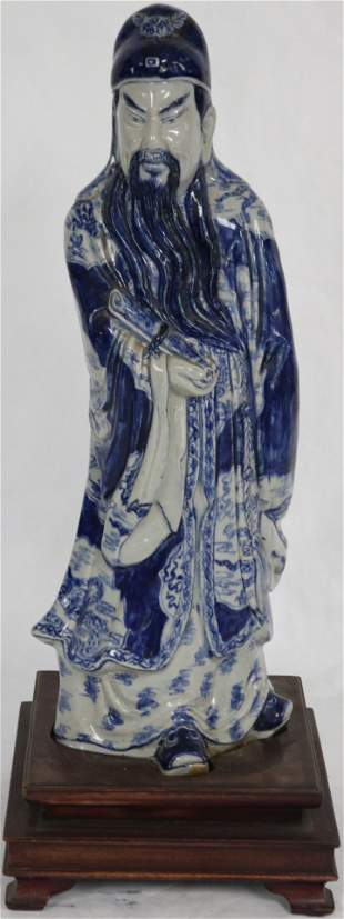 BLUE & WHITE ORIENTAL PORCELAIN FIGURE OF