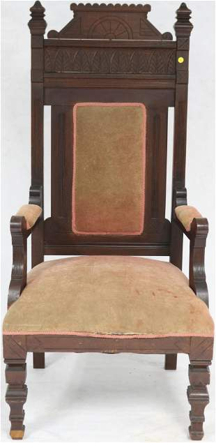 LATE 19TH C. VICTORIAN HIGH BACK DEACON CHAIR