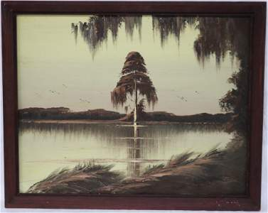 FLORIDA HIGHWAYMEN SIGNED J. GIBSON OIL ON UPSON