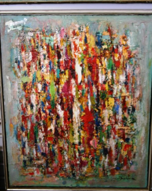 2: CONTEMPORARY OIL ON CANVAS HEAVY PALLET, SIGNED SEBR