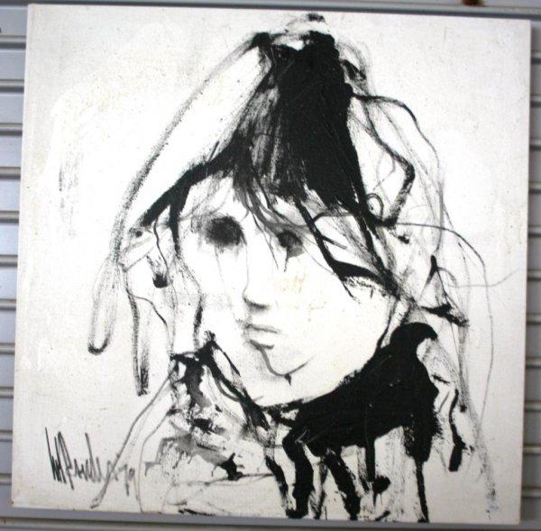 4: OIL ON CANVAS, BLACK & WHITE PORTRAIT ARTIST SIGNED,