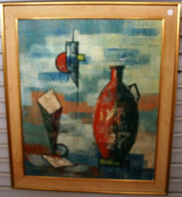 5: OIL ON CANVAS, ABSTRACT SIGNED BERTOLA, 24 1/2 X 20