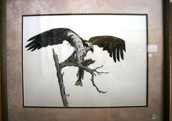 9: FRAMED & GLAZED PRINT OF BIRD WITH FISH SIGNED D. AY