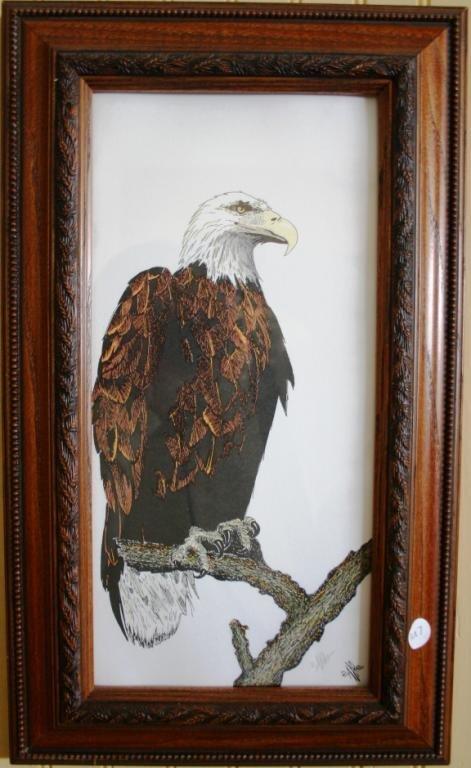 10: FRAMED & GLAZED EAGLE PRINT ARTIST SIGNED, 14 X 7