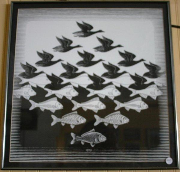 12: FRAMED & GLAZED PRINT OF FISH & FOWL BLACK & WHITE