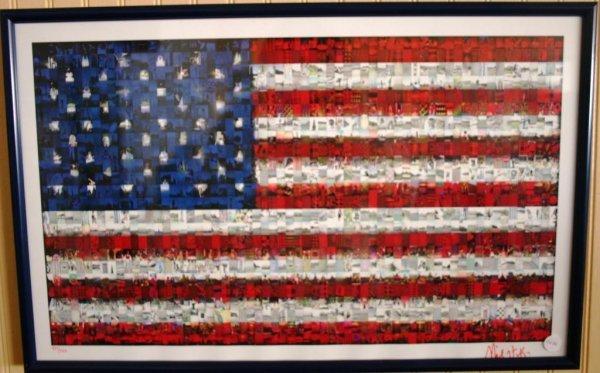 13: FRAMED & GLAZED FLAG PRINT PHOTO COLLAGE, ARTIST SI