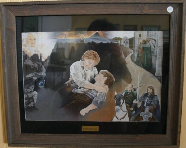 """14: FRAMED & GLAZED PRINT, LORD OF THE RINGS SCENES """"TI"""