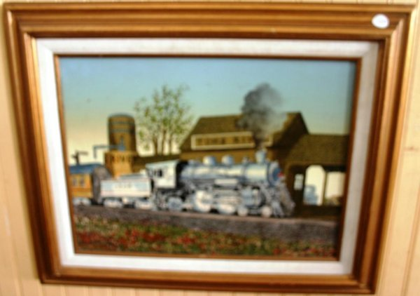 15: PAINTING OF CANVAS, CONTEMPORARY RAIL ROAD SCENE SI
