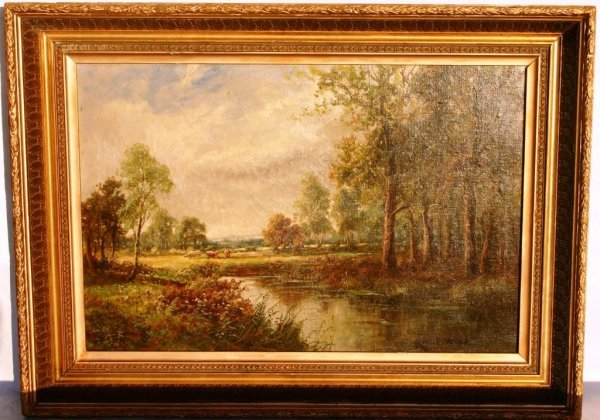 182: FRAMED OIL ON CANVAS, LANDSCAPE SCENE WITH COWS SI