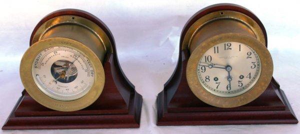 208: CIRCA 1950s CHELSEA BRASS SHIP'S CLOCK & BAROMETER