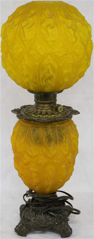 19TH C. EMBOSSED LEMON SATIN GONE WITH THE WIND
